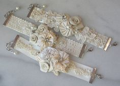 Vintage Style Bridal Cuff Custom Rustic Wedding by TheRedMagnolia