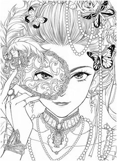 People Coloring Pages, Detailed Coloring Pages, Free Adult Coloring Pages, Cute Coloring Pages, Printable Coloring Pages, Coloring Books, Anime Drawings Sketches, Black And White Drawing, Colorful Pictures