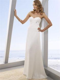 Plain Fresh Strapless Empire Waist Column Floor Length Beach Wedding Dress WD0080