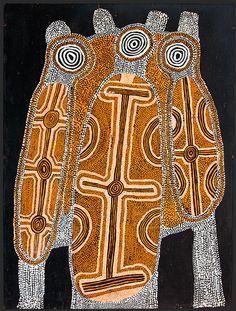 Uta Uta Tjangala, Pintupi, c.1926-90  Women's Dreaming (1972)  synthetic polymer paint on composition board. Australia.