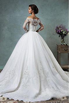 Yangprom Off the Shoulder Detachable Train Long Sleeve Lace Wedding Dress