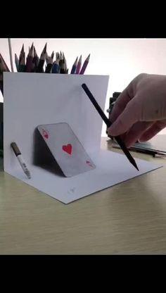 3d Pencil Drawings, 3d Art Drawing, Art Drawings Sketches Simple, Art Drawings Beautiful, Easy Drawings, Illusion Drawings, Illusion Art, How To Draw 3d, Doodle Art