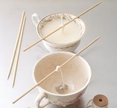 Turn teacups into candles
