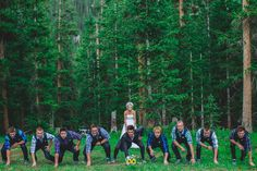Fun football photo idea with the bride and groomsmen. Alta Lakes Observatory in Telluride, Colorado. Wedding photos by @jmcdonaldphoto
