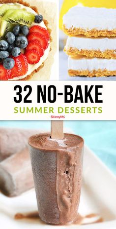 32 Insanely Delicious No-Bake Summer Desserts Celebrate the summer with healthy alternatives to ice cream. These 32 insanely delicious no-bake summer desserts will keep your waistline and your taste buds happy. Mini Desserts, No Bake Summer Desserts, Healthy Dessert Recipes, Summer Recipes, Gourmet Recipes, Baking Recipes, Baking Dishes, Delicious Desserts, Dessert Simple