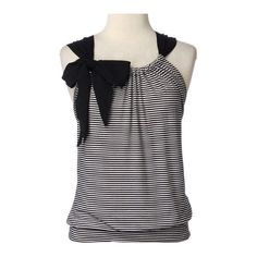 Sleeveless Stripe Front with Bow  ...how similar to pillow case dresses/tops, just need to do a bias band at bottom.