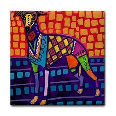 Whippet GREYHOUND Art Tile Ceramic Coaster by by HeatherGallerArt, $20.00