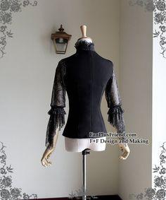 Exclusive Designer Fashion Neo-ludwig Chiffon Lover-Waltz   Etsy Gothic Shirts, Dress Hairstyles, Gothic Lolita, Black Blouse, Lace Fabric, Chiffon, High Neck Dress, Plus Size, Elegant