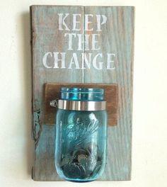 "DIY ""Keep the Change"" Money Holder for Your Laundry Room #masonjar"