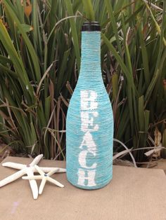 Turquoise Beach Jute Wrapped Wine Bottle by YellowBeeMine on Etsy https://www.etsy.com/listing/160803620/turquoise-beach-jute-wrapped-wine-bottle