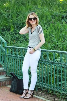Poor Little It Girl - J.Crew Vintage Striped Tee and James Jeans White Jeans