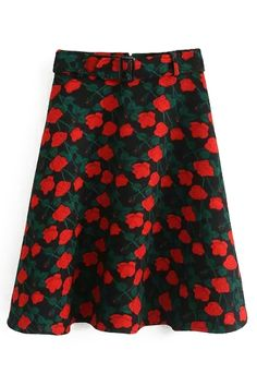 Red Floral Print High Waisted Skirt