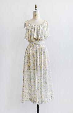vintage 1970s cream lavender floral boho summer dress