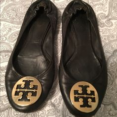 Tory burch authentic black revas Used. Scuffs in the fromt and back of shoe. Cant really tell when you wear them. Tory Burch Shoes Flats & Loafers