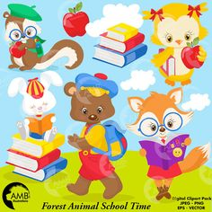 80% OFF SALE ENDS SOON HURRY!  Cute Forest Animals Getting ready to go Back to School clipart. Carrying their books and backpacks these adorable forest creatures are ready for the Fall. This amazing pack can also be used for embroidery, party decorations, greeting cards, invitation cards, cupcake toppers, favour tags, label stickers, scrapbooking, stationary, invitations, gift wrap, ribbons, planners, washi tape, clothing such as t-shirts, baby clothes, buttons, printed fabrics and so much…