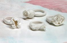 A collection of porcelain rings made by Nausika