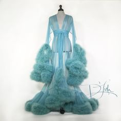 """Image of Blue Slate Deluxe """"Cassandra"""" Dressing Gown How To Dress A Bed, Lingerie Dress, Lingerie Outfits, Sexy Lingerie, Wedding Bridesmaids, Sensual, Night Gown, Cosplay Costumes, Mantel"""