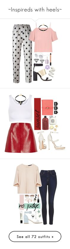 """~Inspireds with heels~"" by courageousmind ❤ liked on Polyvore featuring Alberto Biani, Zara, T By Alexander Wang, shu uemura, BaubleBar, Smoke & Mirrors, Essie, Topshop, River Island and Elizabeth and James"