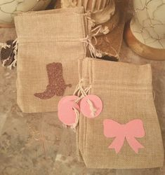 Choose colors Glitter Boot and bow burlap bags by ClassyFabCharm