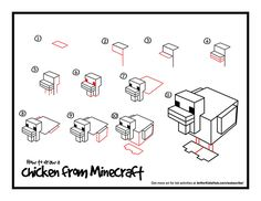 How To Draw A Chicken From Minecraft - Art for Kids Hub