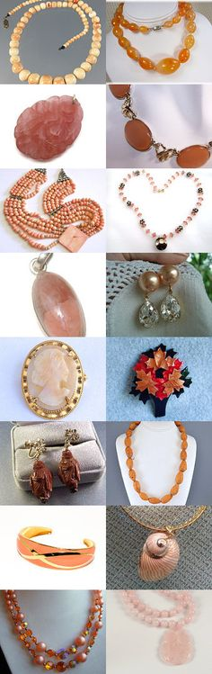 It's All Just Peachy. Many jewels all peachy to enhance your person. Curator: STOLA Saluki Rescue from https://www.etsy.com/shop/StolaStore #Etsy #EtsyTreasury #Vintage #Vogueteam