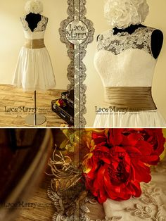 Charming Short Vintage Style Lace Overlay Top Wedding by LaceMarry