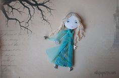 Young Elf Girl Art Doll Brooch  mixed media collage by miopupazzo,