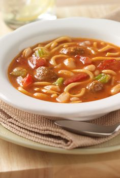 Quick minestrone soup recipe starts with the convenience of canned spaghetti & meatballs combined with seasoned tomatoes and white beans