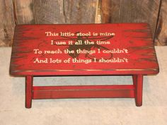 Red western wood child stool for kid's. This by WorkHorseFurniture