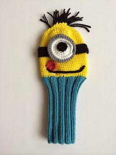 Annoo's Crochet World: Minion golf cover Free Tutorial Crochet World, Crochet Home, Love Crochet, Crochet Gifts, Single Crochet, Crochet Baby, Knit Crochet, Knitting Projects, Crochet Projects