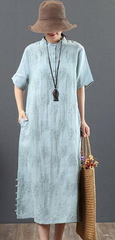 43e8d32c2b Loose light blue linen clothes For Women boutique Work stand collar  embroidery Maxi Summer Dress