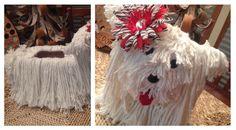 Mop dog Valentine box; Valentine box idea for girls; Dog Valentine box