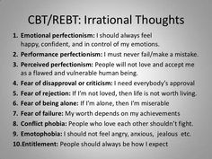 CBT/REBT: Irrational Thoughts<br />Emotional perfectionism: I should always feel happy, confident, and in control of my em. Cbt Therapy, Therapy Worksheets, Therapy Activities, Play Therapy, Therapy Quotes, Therapy Tools, Speech Therapy, Mental And Emotional Health, Mental Health Awareness