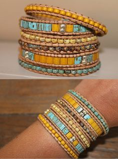 This wrapbracelet can wrap 6 times. The bracelet is made from leather cord and beautiful Miyuki Picasso beads With 4 button closures, size