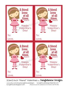 Kids Valentine Card Friend Valentine DIY PRINTABLE Christian Scripture Bible Verse Valentine for Girls Children