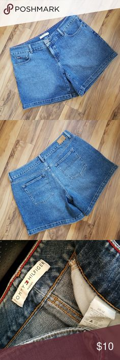 "Plus Tommy Hilfiger denim shorts 18 Women's Tommy Hilfiger brand denim shorts. Size 18 plus. Waist measures 40"", rise measures 10"", inseam measures 7"". Good used condition.  From smoke free home Tommy Hilfiger Shorts Jean Shorts"