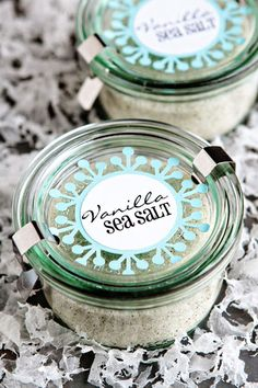~ Vanilla Sea Salt ~ 1 cup sea salt 4 vanilla beans, split lengthwise and scraped, seeds reserved DIRECTIONS: 1. In a large bowl, combine sea salt and vanilla seeds. Use the tips of your fingers to rub the vanilla seeds into the sea salt until they are thoroughly combined. 2. Spoon salt into individual jars, cover tightly, label, and store in a cool, dry place