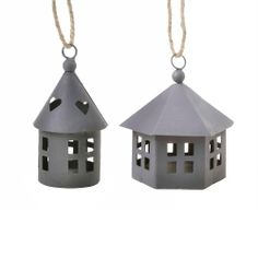 Set of Two Miniature Metal House Hanging Ornaments House Ornaments, Garden Ornaments, Hanging Ornaments, Tesco Direct, Metal Homes, Tree Decorations, Miniatures, Drop Earrings, Stuff To Buy