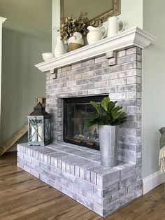 Living Room Remodel With Fireplace Mantels small living room remodel with fireplace.Living Room Remodel Before And After Foyers. White Wash Brick Fireplace, Paint Fireplace, Home Fireplace, Living Room With Fireplace, Fireplace Mantels, My Living Room, Fireplace Whitewash, Small Living, Fireplace Ideas
