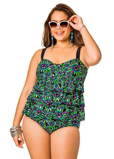 Metal Leaf Tiered Tankini Top
