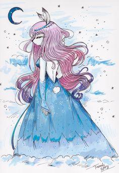 The moon - Une lapine sous la lune  Tous droits réservés Justine, Illustrations, Creations, Anime, Art, Moon, Rabbits, Art Background, Illustration