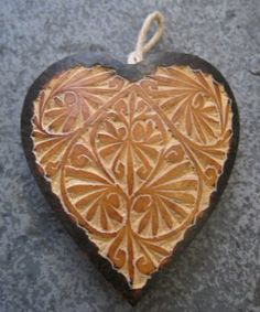 Hand Carved Gourd Heart Ornament