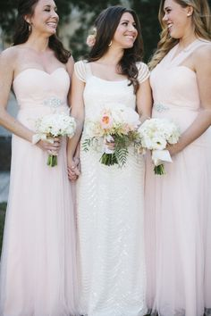 Stunning dresses: http://www.stylemepretty.com/little-black-book-blog/2015/02/27/blush-gold-rosemary-beach-wedding/   Photography: Leslie Hollingsworth - http://www.leslie-hollingsworth.com/