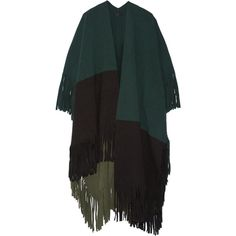 Burberry Prorsum Color-block fringed wool-blend felt poncho (3,345 PEN) ❤ liked on Polyvore featuring outerwear, coats, poncho, cape, cardigans, green, style poncho, felt cape, cape coat and green poncho