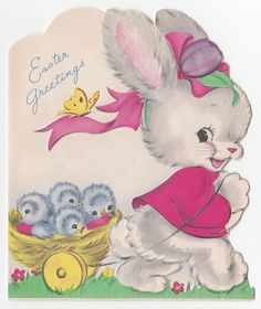 Vintage Greeting Card Easter Cute Bunny Rabbit Die-Cut Blue Birds 1950s a178