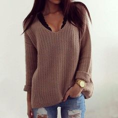 Brown Long-Sleeve Knitted Sweater from IDEOLOGY. Saved to Epic Wishlist. Shop more products from IDEOLOGY on Wanelo.