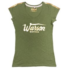 Warson Motors Khaki women's V Neck fitted T-Shirt, available through www.rustyunionmoto.com.au Shirt Outfit, Vintage Outfits, Leather Jacket, V Neck, T Shirts For Women, Tees, Motors, Clothes, Shopping