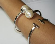 Double Pearl fashion bangle, 18k silver Plated Cuff Bracelets With Big Pearl Beads