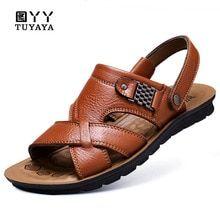 1ddbd37f2817 Mens Sandals Summer 2019 New Men s Sandals Genuine Leather Simple Black Comfortable  Men Beach Shoes Gladiator