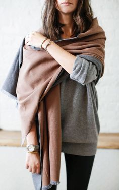 "One Shoulder Shawl: This style is perfect a sophisticated night out. Instead of going typical ""shawl"", just wrap the scarf around one shoulder for an edgy asymmetrical look"